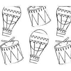 carnival funfair festive pattern hot air balloon and drum vector illustration sketch design
