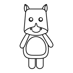cute hippo toy animal image vector illustration outline design