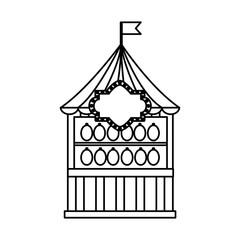 carnival funfair booth shooting game vector illustration outline design