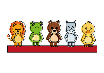 set of cute toy animals baby image vector illustration