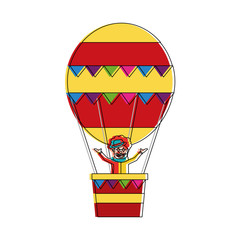 carnival circus clown flying with hot air balloon vector illustration
