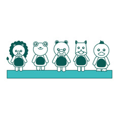 set of cute toy animals baby image vector illustration green image