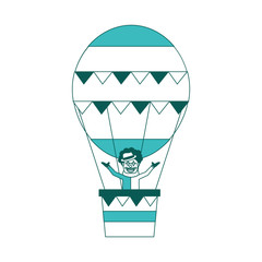 carnival circus clown flying with hot air balloon vector illustration green image