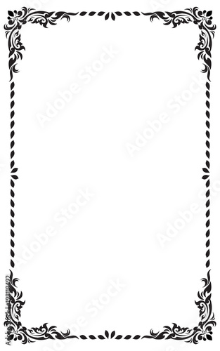 Decorative Frame And Border For Design Of Birthday Greeting Card Wedding Black White