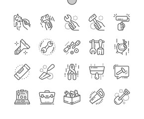 Tools Well-crafted Pixel Perfect Thin Line Icons 30 2x Grid for Web Graphics and Apps. Simple Minimal Pictogram