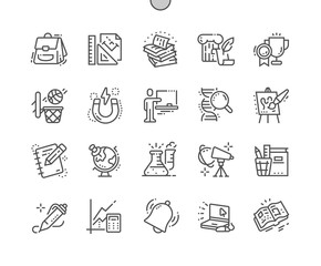 School Subjects Well-crafted Pixel Perfect Vector Thin Line Icons 30 2x Grid for Web Graphics and Apps. Simple Minimal Pictogram