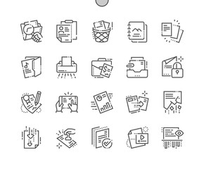 Documents Well-crafted Pixel Perfect Thin Line Icons 30 2x Grid for Web Graphics and Apps. Simple Minimal Pictogram