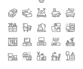 Furniture Well-crafted Pixel Perfect Vector Thin Line Icons 30 2x Grid for Web Graphics and Apps. Simple Minimal Pictogram