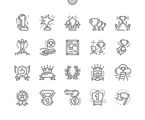 Awards Well-crafted Pixel Perfect Vector Thin Line Icons 30 2x Grid for Web Graphics and Apps. Simple Minimal Pictogram