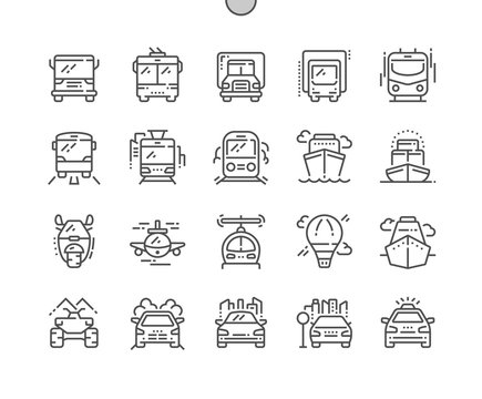 Transport Side Front Well-crafted Pixel Perfect Thin Line Icons 30 2x Grid for Web Graphics and Apps. Simple Minimal Pictogram