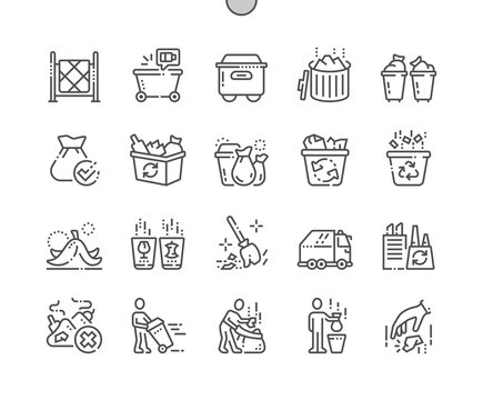 Garbage Well-crafted Pixel Perfect Vector Thin Line Icons 30 2x Grid for Web Graphics and Apps. Simple Minimal Pictogram