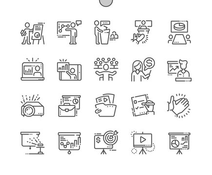 Business Presentation Well-crafted Pixel Perfect Vector Thin Line Icons 30 2x Grid for Web Graphics and Apps. Simple Minimal Pictogram