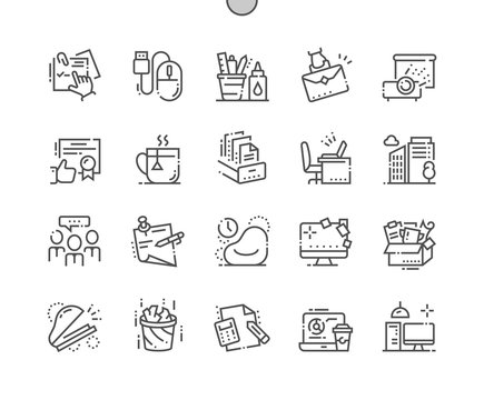 Office Well-crafted Pixel Perfect Thin Line Icons 30 2x Grid for Web Graphics and Apps. Simple Minimal Pictogram