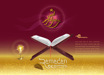 Design cover Ramadan Kareem with illustrations Quran and lanterns, for banners, greeting cards, posters and advertising promotional materials