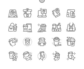 Coffee To Go Well-crafted Pixel Perfect Vector Thin Line Icons 30 2x Grid for Web Graphics and Apps. Simple Minimal Pictogram