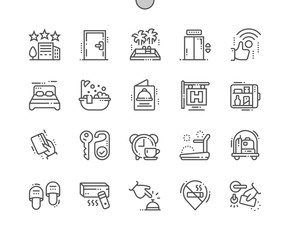 Hotel Well-crafted Pixel Perfect Vector Thin Line Icons 30 2x Grid for Web Graphics and Apps. Simple Minimal Pictogram