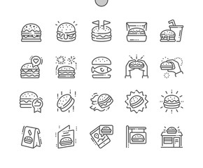 Burger Well-crafted Pixel Perfect Vector Thin Line Icons 30 2x Grid for Web Graphics and Apps. Simple Minimal Pictogram