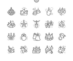 Toys on the Christmas tree Well-crafted Pixel Perfect Vector Thin Line Icons 30 2x Grid for Web Graphics and Apps. Simple Minimal Pictogram
