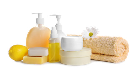 Wall Mural - Composition of body care products on white background