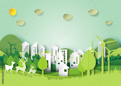 Ecology and environment conservation concept Eco green city