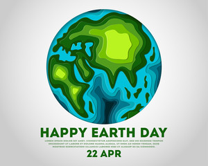 Happy Earth Day poster with paper carving green globe map shapes with shadow. Save ecology, environment conservation, concept, 3d paper cut nature and eco friendly design vector illustration.