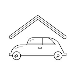 Parking place vector line icon isolated on white background. Car at parking place line icon for infographic, website or app.
