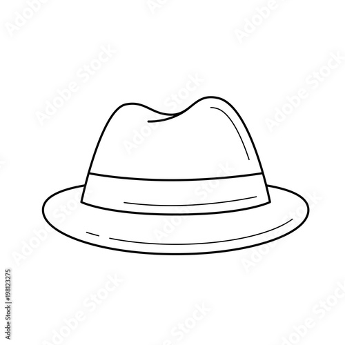 58536296a5fbe Felt hat vector line icon isolated on white background. Male felt hat line  icon for infographic
