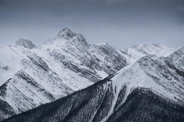 Aluminium Prints Mountains Dramatic mountain peaks, Banff Canada