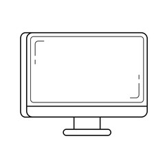 Computer monitor vector line icon isolated on white background. Desktop line icon for infographic, website or app.
