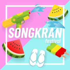 Festival summer concept, Thailand Songkran, 3D style-Vector illustration