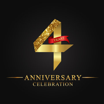 anniversary, aniversary, 4 years anniversary celebration logotype. Logo,ribbon golden number on black background.Number ribbon gold foil.