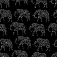 Indian elephants with ornament. seamless pattern