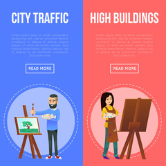 Visual art studio advertising flyers with artists painting artworks. Student in art workshop, painter drawing on canvas. Art school classes, artistic people concept, creative hobby vector illustration