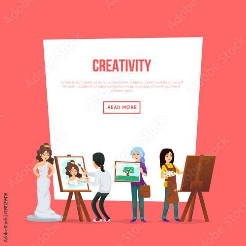 Creativity poster with artists painting and showing artworks