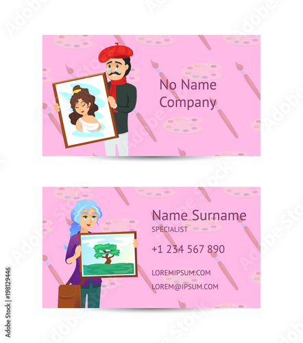 Visual art studio business card layout with artists showing
