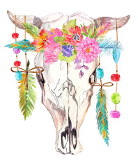 Watercolor bull skull with flowers, beads and feathers