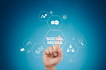 Social media concept on virtual screen. SMM. Marketing. Communication and internet technology.