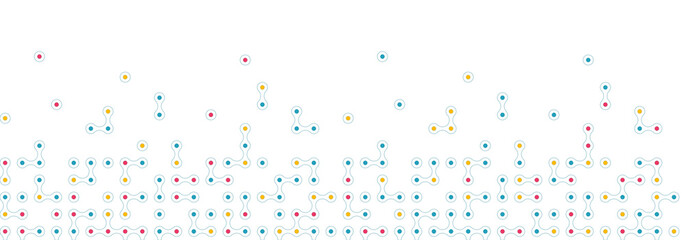 Seamless horizontal pattern from connected circles for site footer background. Technological concept background with modern colored integrated metaballs for your web-site. Vector illustration