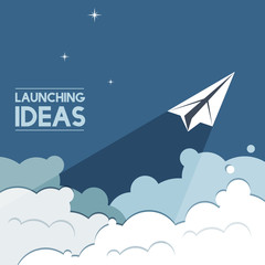 flying paper plane cartoon on blue background