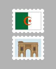 Algeria flag and timgad on postage stamps