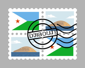 Djibouti flag and devils island on postages