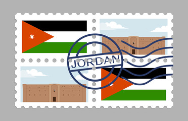 Jordan flag and desert castle on postages