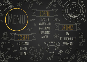 Restaurant Coffee Menu Design with Chalkboard Background.
