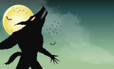 werewolf howling on green spooky night background