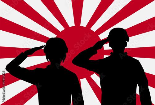 silhouette japan soldier on rising sun japan flag stock image and rh eu fotolia com  japan rising sun vector free
