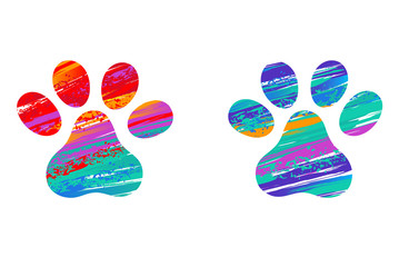 Two cat's colorful paws
