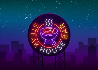 Steak House Logo Vector. Neon sign, symbol, bright advertising night barbecue, grill, roast meat, grill bar, restaurant. Bright neon banner, luminous billboard for your projects