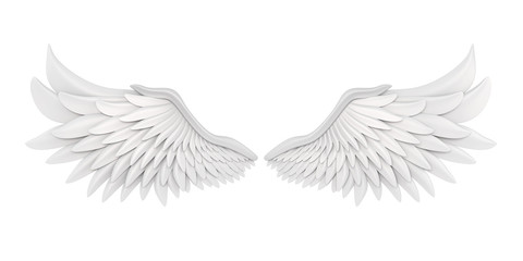 White Angel Wings Isolated Wall mural