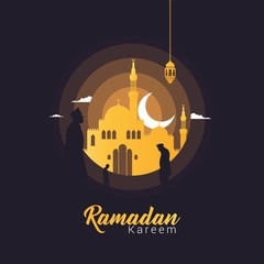 Ramadan Kareem beautiful greeting card background design template for banner