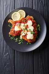 Veal Milanesa Napolitana with mozzarella cheese and tomato sauce close-up on a plate. Vertical top view